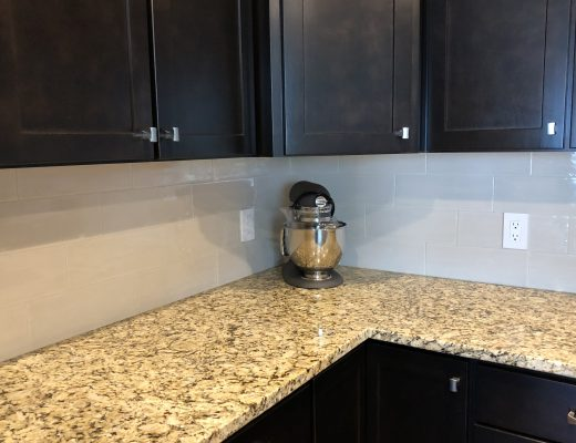 Backsplash installation in the corner