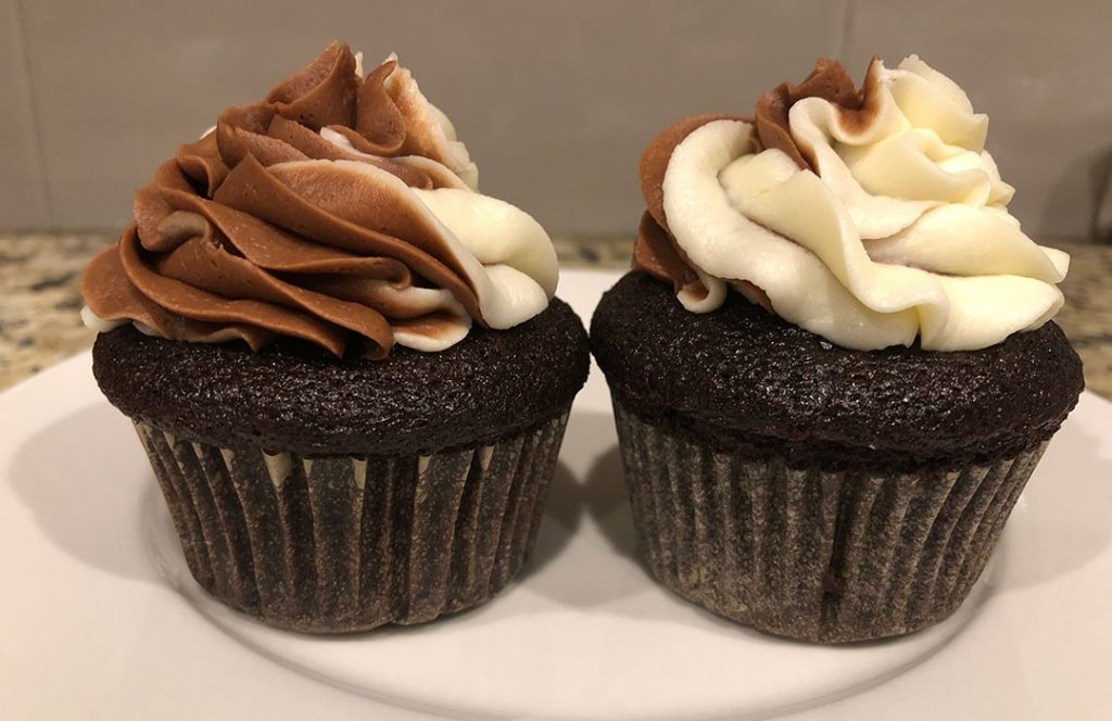Swirl cupcakes side view